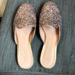 EUC Kate Spade Gowan rose gold glitter shoes 8
